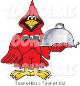 Vector Illustration of a Cartoon Cardinal Mascot Serving Food by Toons4Biz