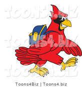 Vector Illustration of a Cartoon Cardinal Mascot Walking to School by Toons4Biz
