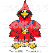 Vector Illustration of a Cartoon Cardinal Mascot Wearing a Medal by Toons4Biz