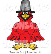 Vector Illustration of a Cartoon Cardinal Mascot Wearing a Pilgrim Hat by Toons4Biz