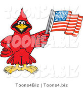 Vector Illustration of a Cartoon Cardinal Mascot with an American Flag by Toons4Biz