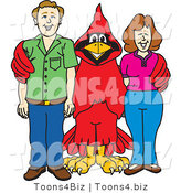 Vector Illustration of a Cartoon Cardinal Mascot with Teachers or Parents by Toons4Biz