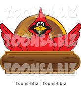 Vector Illustration of a Cartoon Cardinal Mascot Wood Plaque Logo by Toons4Biz