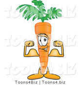 Vector Illustration of a Cartoon Carrot Mascot Flexing His Bicep Arm Muscles to Show His Strength by Toons4Biz