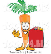 Vector Illustration of a Cartoon Carrot Mascot Holding a Red Sales Price Tag by Toons4Biz