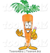 Vector Illustration of a Cartoon Carrot Mascot Holding a Yellow Pencil with an Eraser Tip by Toons4Biz