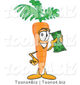 Vector Illustration of a Cartoon Carrot Mascot Holding up a Dollar Bill by Toons4Biz