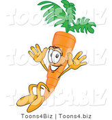 Vector Illustration of a Cartoon Carrot Mascot Jumping by Toons4Biz