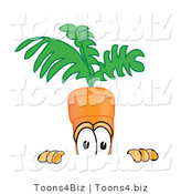 Vector Illustration of a Cartoon Carrot Mascot Nervously Peeking over a Surface by Toons4Biz