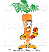 Vector Illustration of a Cartoon Carrot Mascot Pointing to a Red Telephone by Toons4Biz