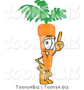 Vector Illustration of a Cartoon Carrot Mascot Pointing Upwards by Toons4Biz