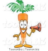 Vector Illustration of a Cartoon Carrot Mascot Preparing to Make an Announcement with a Megaphone Bullhorn by Toons4Biz