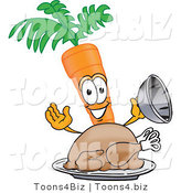 Vector Illustration of a Cartoon Carrot Mascot Serving a Cooked Thanksgiving Turkey Bird in a Platter by Toons4Biz
