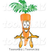 Vector Illustration of a Cartoon Carrot Mascot Sitting by Toons4Biz