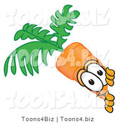 Vector Illustration of a Cartoon Carrot Mascot Sneakily Peeking Around a Corner by Toons4Biz