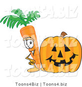Vector Illustration of a Cartoon Carrot Mascot Standing by a Carved Jack-O-Lantern Halloween Pumpkin by Toons4Biz