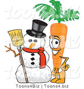 Vector Illustration of a Cartoon Carrot Mascot Standing by a Snowman by Toons4Biz