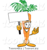 Vector Illustration of a Cartoon Carrot Mascot Waving a Blank White Advertisement Sign by Toons4Biz
