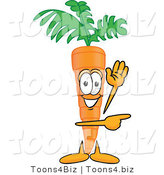 Vector Illustration of a Cartoon Carrot Mascot Waving and Pointing to the Right by Toons4Biz