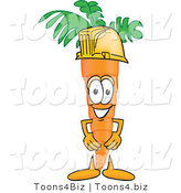 Vector Illustration of a Cartoon Carrot Mascot Wearing a Yellow Hardhat by Toons4Biz