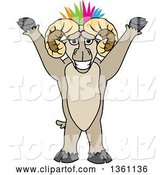 Vector Illustration of a Cartoon Cheering Ram Mascot with a Colorful Mohawk by Toons4Biz