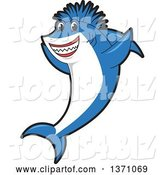Vector Illustration of a Cartoon Cheering Shark School Mascot with a Mohawk by Toons4Biz