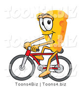 Vector Illustration of a Cartoon Cheese Mascot Bicycling - Royalty Free Vector Illustration by Toons4Biz