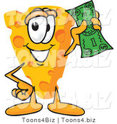 Vector Illustration of a Cartoon Cheese Mascot Holding a Green Dollar Bill by Toons4Biz