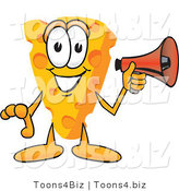 Vector Illustration of a Cartoon Cheese Mascot Holding a Red Bullhorn Megaphone and Preparing to Make an Announcement by Toons4Biz