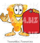 Vector Illustration of a Cartoon Cheese Mascot Holding a Red Clearance Sales Price Tag by Toons4Biz