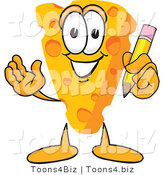 Vector Illustration of a Cartoon Cheese Mascot Holding a Yellow Number 2 Pencil with an Eraser Tip by Toons4Biz
