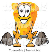 Vector Illustration of a Cartoon Cheese Mascot Lifting Weights - Royalty Free Vector Illustration by Toons4Biz