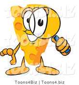 Vector Illustration of a Cartoon Cheese Mascot Looking Through a Magnifying Glass by Toons4Biz