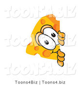 Vector Illustration of a Cartoon Cheese Mascot Peeking Around a Corner by Toons4Biz