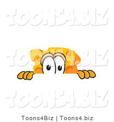 Vector Illustration of a Cartoon Cheese Mascot Peeking over a Surface by Toons4Biz