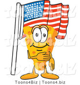 Vector Illustration of a Cartoon Cheese Mascot Pledging Allegiance to the American Flag by Toons4Biz