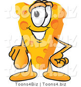 Vector Illustration of a Cartoon Cheese Mascot Pointing Outwards at the Viewer by Toons4Biz