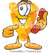 Vector Illustration of a Cartoon Cheese Mascot Pointing to and Holding a Red Phone by Toons4Biz