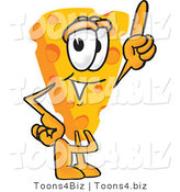 Vector Illustration of a Cartoon Cheese Mascot Pointing Upwards by Toons4Biz