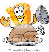 Vector Illustration of a Cartoon Cheese Mascot Serving a Thanksgiving Turkey on a Platter by Toons4Biz