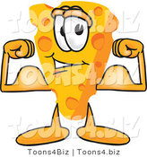 Vector Illustration of a Cartoon Cheese Mascot Showing His Strength by Flexing His Strong Bicep Arm Muscles by Toons4Biz