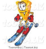 Vector Illustration of a Cartoon Cheese Mascot Skiing - Royalty Free Vector Illustration by Toons4Biz