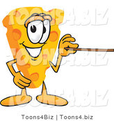 Vector Illustration of a Cartoon Cheese Mascot Using a Pointer Stick and Pointing to the Right by Toons4Biz
