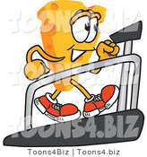 Vector Illustration of a Cartoon Cheese Mascot Walking on a Treadmill - Royalty Free Vector Illustration by Toons4Biz