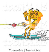 Vector Illustration of a Cartoon Cheese Mascot Water Skiing - Royalty Free Vector Illustration by Toons4Biz