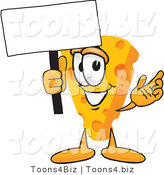 Vector Illustration of a Cartoon Cheese Mascot Waving a Blank White Advertising Sign by Toons4Biz