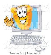 Vector Illustration of a Cartoon Cheese Mascot Waving from Inside a Computer Screen by Toons4Biz