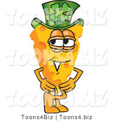 Vector Illustration of a Cartoon Cheese Mascot Wearing a Leprechaun Hat - Royalty Free Vector Illustration by Toons4Biz
