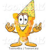 Vector Illustration of a Cartoon Cheese Mascot Wearing a Party Hat - Royalty Free Vector Illustration by Toons4Biz