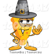 Vector Illustration of a Cartoon Cheese Mascot Wearing a Pilgrim Hat - Royalty Free Vector Illustration by Toons4Biz